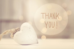 Thank You message with a white heart