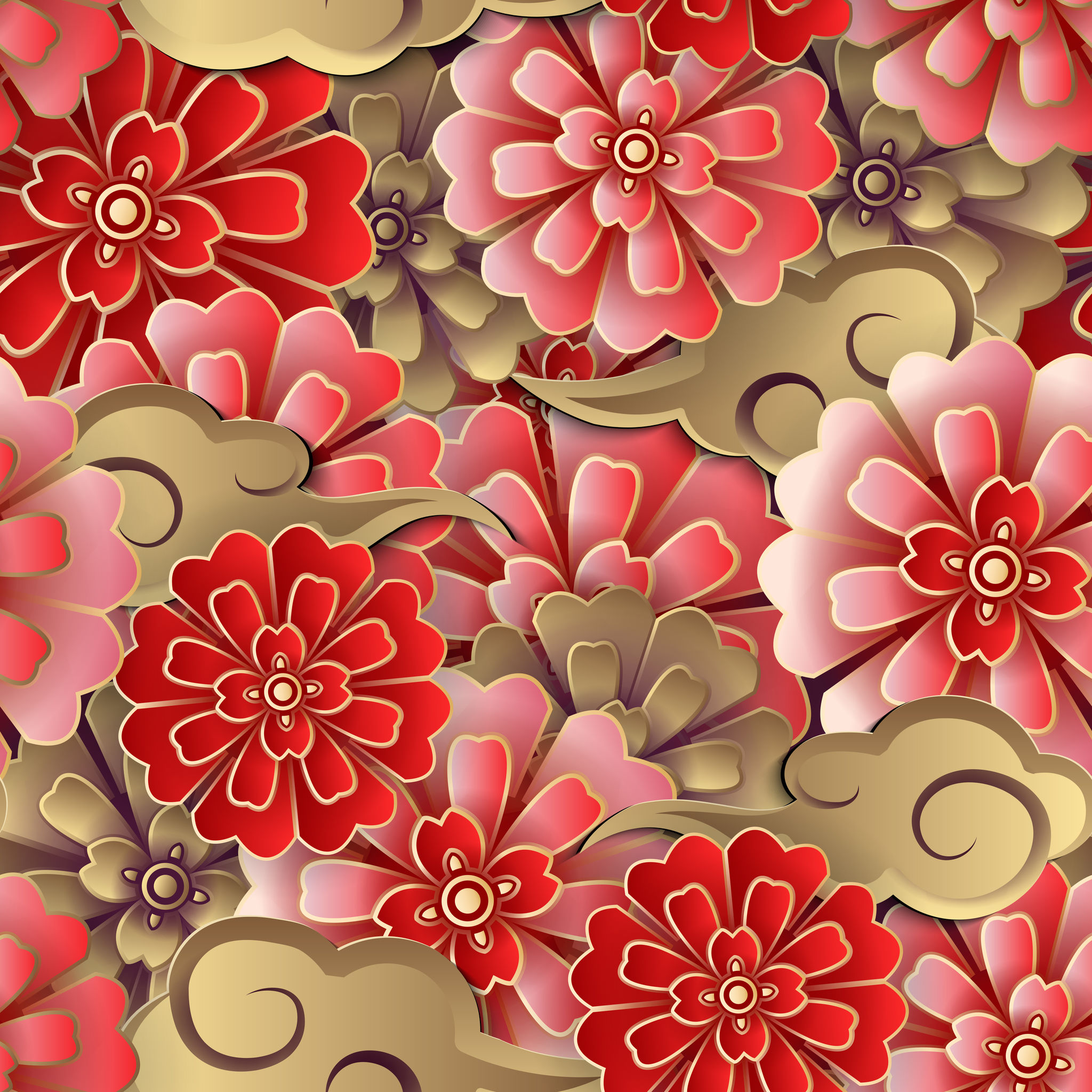 Chinese pink red gold flower and spiral cloud seamless pattern background